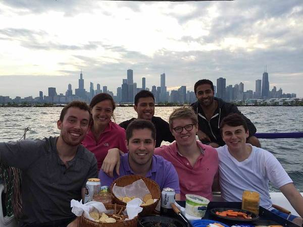 Dylan Nugent with friends in Chicago