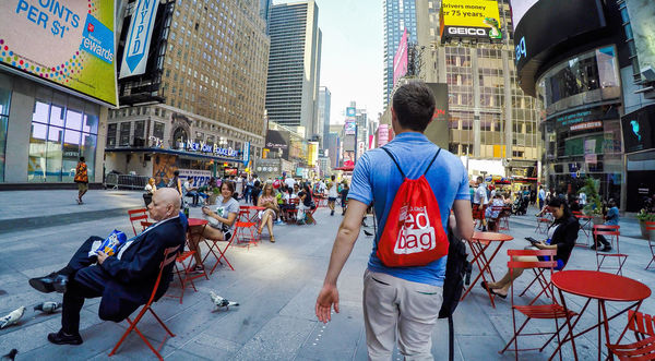 Michael McRoskey in New York spreading The Red Bag